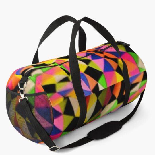 multicolor duffle bag